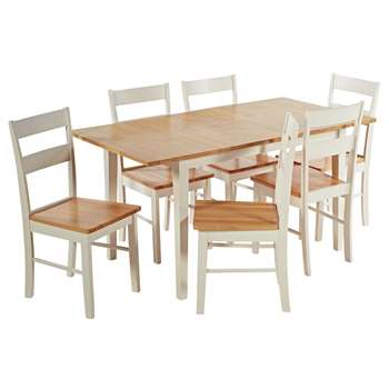 Argos Home Chicago Extendable Solid Wood Table & 6 Chairs