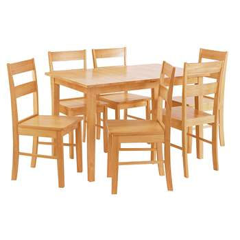 Argos Home Chicago Extendable Table & 6 Chairs - Natural