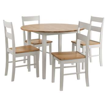 Argos Home Chicago Round Solid Wood Dining Table & 4 Chairs