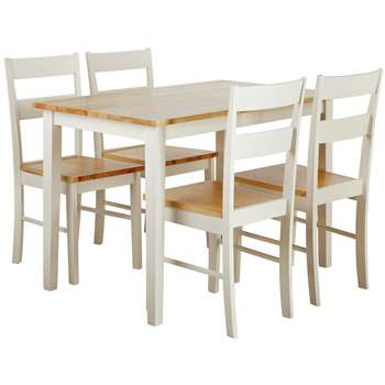 Argos Home Chicago Solid Wood Table & 4 Chairs - Two Tone