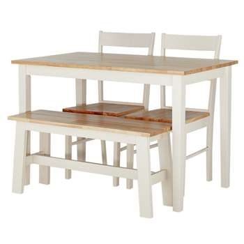 Argos Home Chicago Solid Wood Table, Bench 2 Chairs