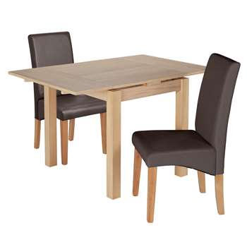 Argos Home Clifton Extendable Table & 2 Chairs - Chocolate