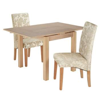 Argos Home Clifton Extendable Table & 2 Chairs -Cream Damask