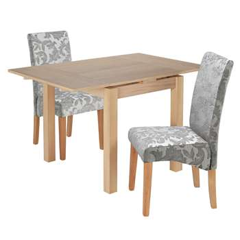 Argos Home Clifton Extendable Table 2 Chairs - Grey Damask