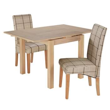 Argos Home Clifton Extendable Table & 2 Chairs - Mink Check