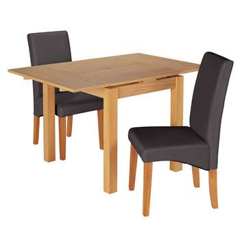 Argos Home Clifton Oak Extendable Table 2 Chairs - Charcoal