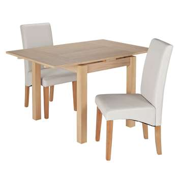 Argos Home Clifton Oak Extendable Table & 2 Chairs - Cream