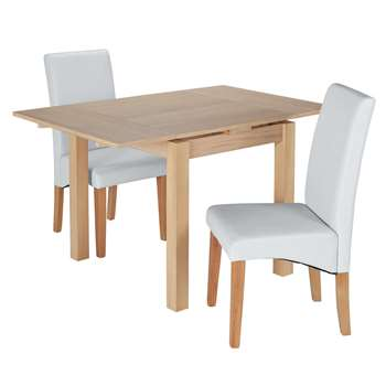 Argos Home Clifton Oak Extendable Table 2 Chairs - Grey