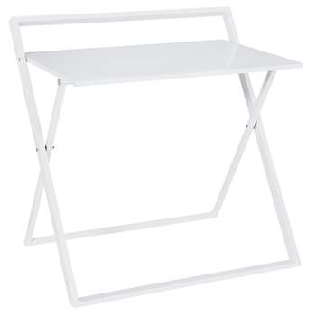 Argos Home Compact Folding Office Desk - White (H84 x W86 x D62cm)
