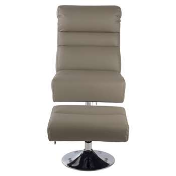 Argos Home Costa Faux Leather Swivel Chair & Footstool - Grey (H99 x W61 x D92cm)