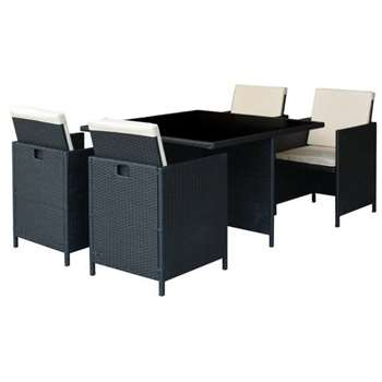 Argos Home Cube 4 Seater Rattan Effect Patio Set
