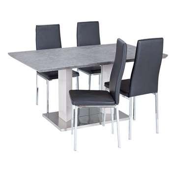 Argos Home Dalston Granite Table & 4 Chairs - Black