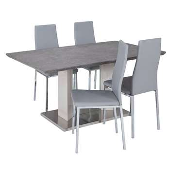 Argos Home Dalston Granite Table & 4 Chairs - Grey