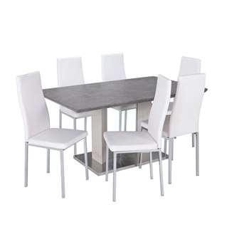 Argos Home Dalston Granite Table & 6 Chairs - White