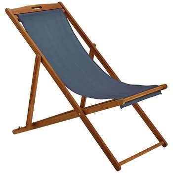 Argos Home Deck Chair - Grey (H92 x W59 x D110cm)