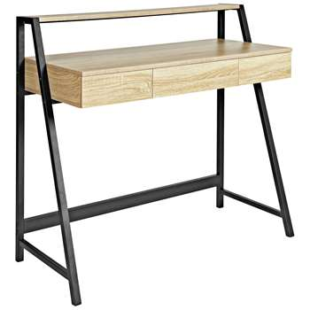 Argos Home Desk with Shelf - Oak Effect (H92 x W100 x D48cm)
