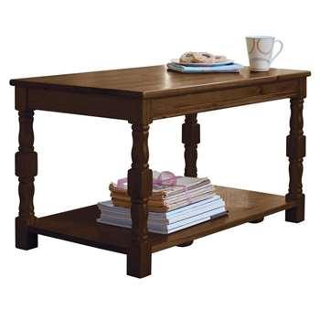 Argos Home Devon Solid Pine Coffee Table - Walnut Effect (H45 x W80 x D45cm)
