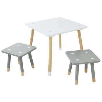 Argos Home Ellis White Kids Table & 2 Stools (H27.4 x W30 x D30cm)