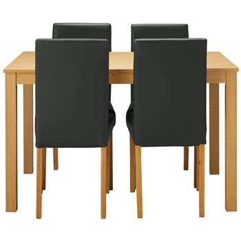 Argos Home Elmdon Oak Effect Dining Table & 4 Chairs - Black