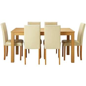 Argos Home Elmdon Oak Effect Dining Table & 6 Chairs - Cream