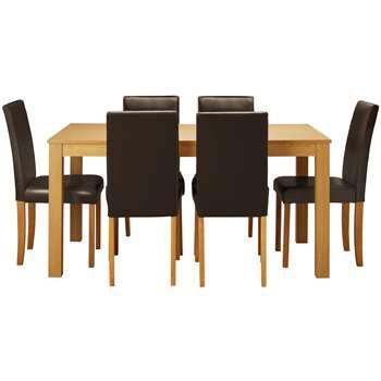 Argos Home Elmond Oak Effect Table & 6 Chairs - Chocolate