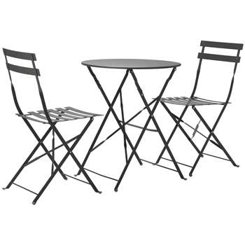 Argos Home Eve Folding Metal Bistro Set - Grey