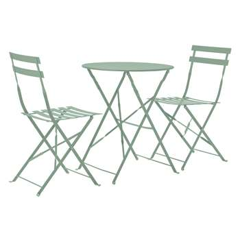 Argos Home Eve Folding Metal Bistro Set - Light Green