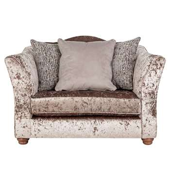 Argos Home Fantasia Velvet Cuddle Chair - Truffle (H96 x W143 x D110cm)