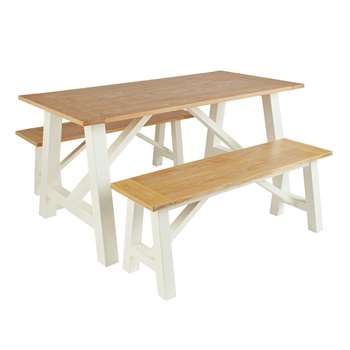 Argos Home Farmhouse Dining Table & Bench Set - Two Tone