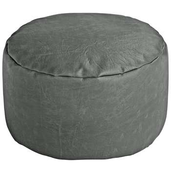 Argos Home Faux Leather Footstool - Grey (H25 x W45 x D45cm)