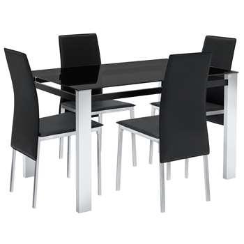 Argos Home Fitz Black Glass Table & 4 Chairs - Black