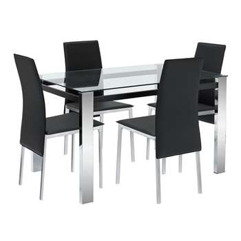 Argos Home Fitz Clear Glass Table & 4 Chairs - Black