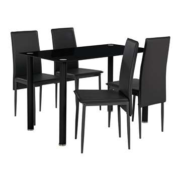 Argos Home Flynn Round Leg Glass Table & 4 Chairs - Black