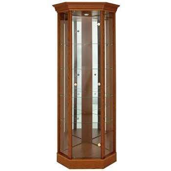 Argos Home Glass Corner Display Cabinet - Dark Oak Effect (H178 x W71 x D57cm)