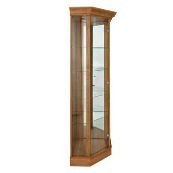 Argos Home Glass Corner Display Cabinet -Light Oak Effect (H178 x W71 x D57cm)