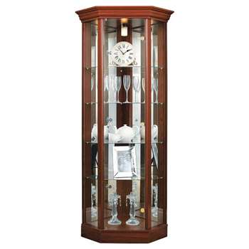 Argos Home Glass Corner Display Cabinet - Mahogany Effect (H178 x W71 x D57cm)