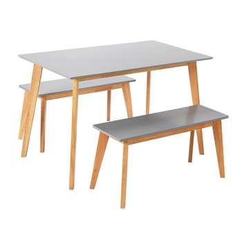 Argos Home Harlow Dining Table & Bench Set - Grey/Oak Effect