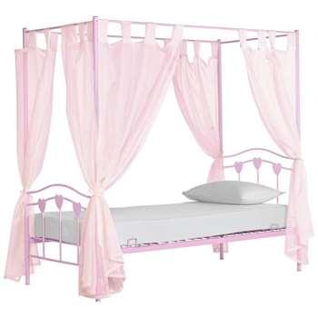 Argos Home Hearts Pink Single 4 Poster Bed & Kids Mattress (H189 x W100 x D197cm)