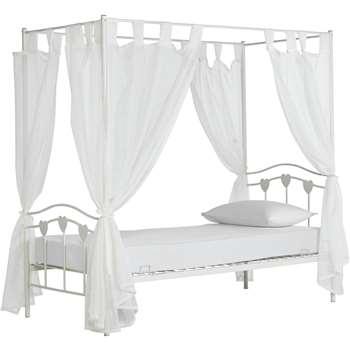 Argos Home Hearts White Single 4 Poster Bed & Kids Mattress (H189 x W100 x D197cm)