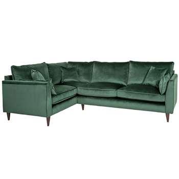 Argos Home Hector Left Corner Velvet Sofa - Green (H88 x W250 x D173cm)