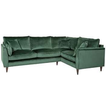Argos Home Hector Right Corner Velvet Sofa - Green (H88 x W250 x D173cm)