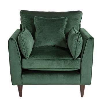 Argos Home Hector Velvet Armchair - Green (H88 x W88 x D87cm)