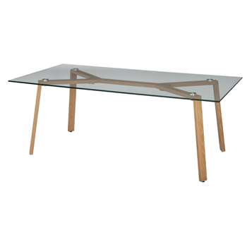 Argos Home Helena Coffee Table - Glass and Oak Effect (H45 x W100 x D50cm)