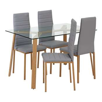 Argos Home Helena Glass Table and 4 Chairs - Grey
