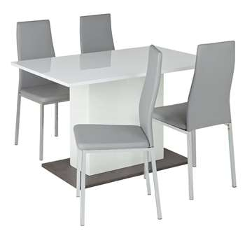 Argos Home Holborn Gloss Pedastal Table & 4 Chairs - Grey