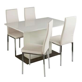 Argos Home Holborn Gloss Pedastal Table & 4 Chairs - White