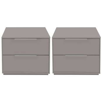 Argos Home Holsted 2x Grey Gloss Bedside Chests (H43.9 x W46.6 x D39.6cm)