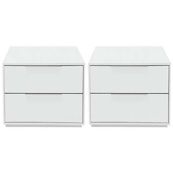 Argos Home Holsted 2x White Bedside Chests (H43.9 x W46.6 x D39.6cm)