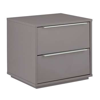 Argos Home Holsted Grey Gloss 2 Drawer Bedside Chest (H43.9 x W46.6 x D39.6cm)