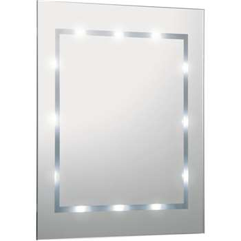 Argos Home Illuminated Bathroom Mirror - White Gloss (H40 x W35 x D3.5cm)